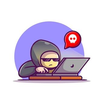 Haker obsługujący laptopa ikona ilustracja kreskówka.