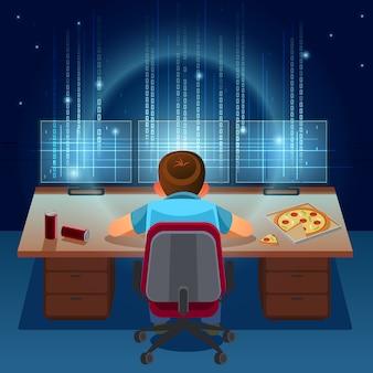 Haker pracuje nad kodem na ciemnym tle cyfrowym z cyfrowym interfejsem wokół. binarny kod komputerowy. koncepcja programowania / kodowania / hakera. ilustracja kreskówka.