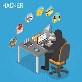 Haker siedzi przy stole i włamuje się do danych przez internet na laptopie. izometryczne koncepcja internet security z płaskimi ikonami hacker, wirusy i spam.