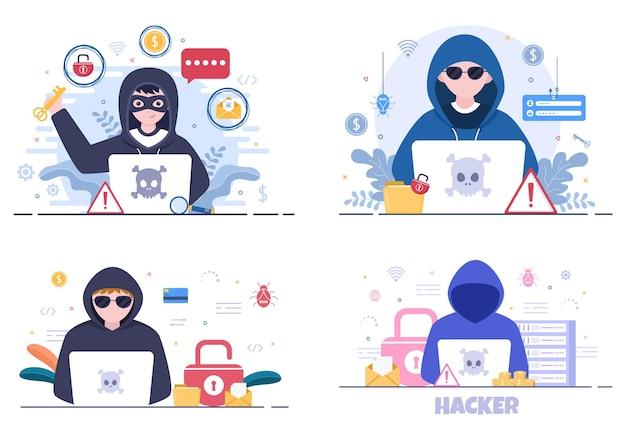 Haker wykorzystujący serwer komputerowy do aktywności ilustracja wektorowa tła zhakowanej bazy danych