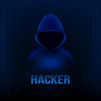 Haker z kapturem, ciemno zasłoniętą twarzą, komputer przenośny.