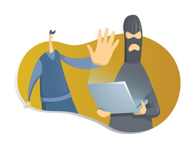 Haker z laptopem i policjant, koncepcja na temat cyberbezpieczeństwa. ilustracja na białym tle.