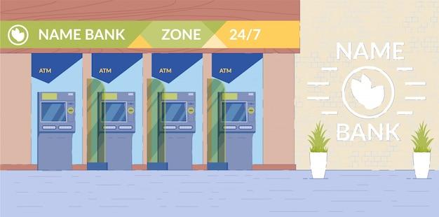 Hala bankomatów ze sprzętem bankowym.