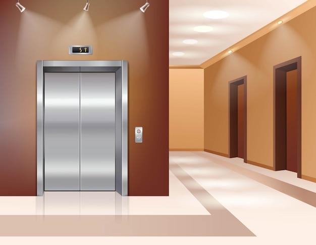 Hala hotelowa lub biurowa z zamkniętymi drzwiami windy