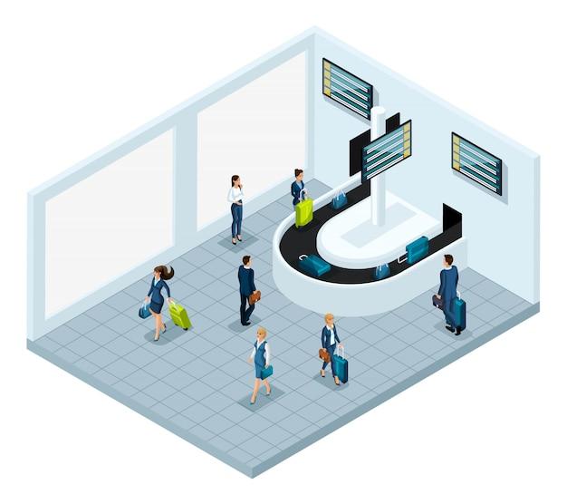 Hala odbioru bagażu po locie, lotnisko międzynarodowe, biznesmenki i biznesmeni w podróży służbowej, pasażerowie z bagażem wyjeżdżają do miasta