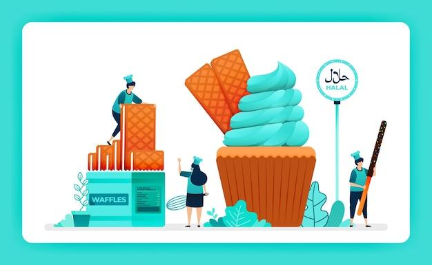 Halal ilustracja menu żywności słodkiej babeczki.