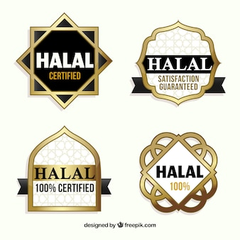 Halal kolekcja znaczków ze złotym stylem