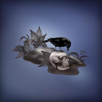 Halloween abstrakcyjna scena z czaszką i kamieniami