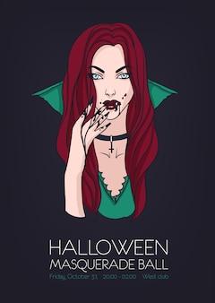 Halloween bal maskowy, szablon wydarzenia plakat z piękną kobietą wampirów
