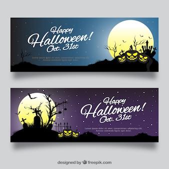 Halloween banery z księżyca