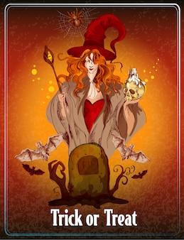 Halloween barwiona ilustracja. cukierek albo psikus
