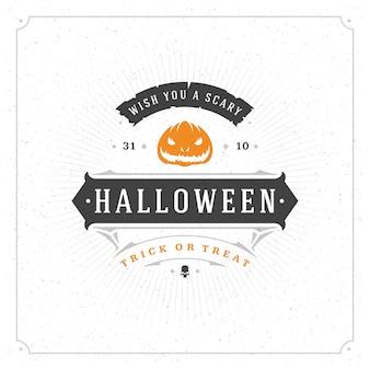 Halloween celebracja retro typografii etykiety lub znaczek