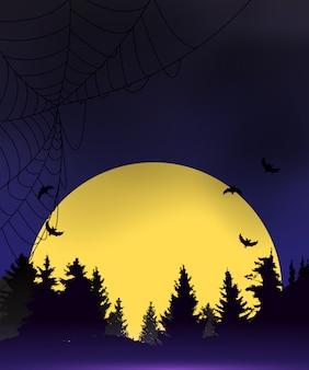 Halloween ciemnoniebieskie tło szablonu. ilustracja