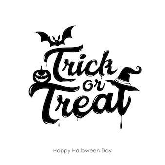 Halloween cukierek albo psikus wektor wiadomości i projekt dyni nietoperza na białym tle