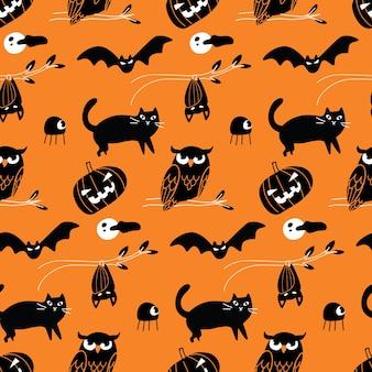 Halloween doodle bezszwowe tło