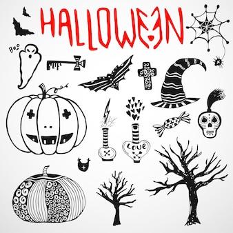 Halloween doodle szkice. zestaw ikon wakacje wyciągnąć rękę