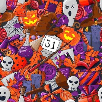 Halloween doodle wzór.