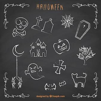 Halloween doodles na tablicy
