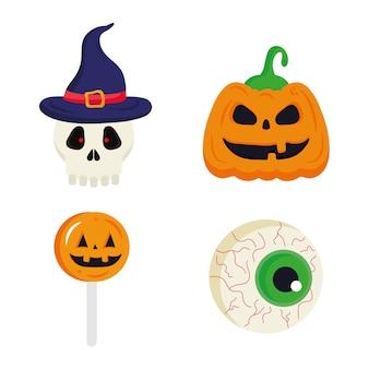 Halloween dynia czaszki cukierki i projekt oka, motyw halloween.