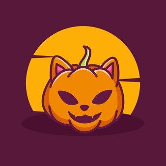 Halloween dynia ładny kot kształt maskotka ilustracja kreskówka wektor ikona