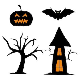 Halloween dynia nietoperza drzewo i projekt domu, motyw halloween.