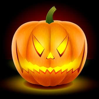 Halloween, dynia o złej przerażającej twarzy.