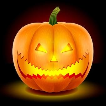 Halloween, dynia z przerażającą twarzą.