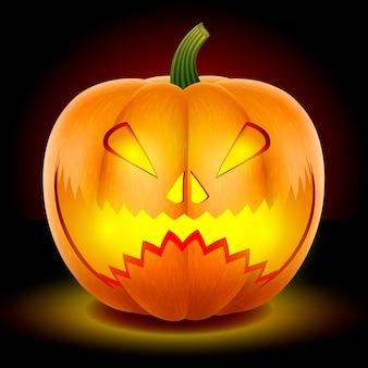 Halloween, dynia z przerażającą warczącą maską.