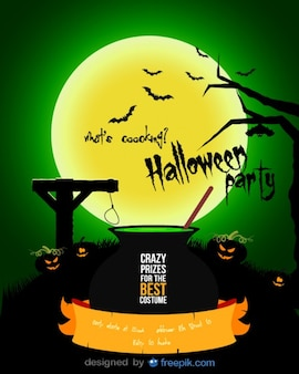 Halloween dynie ulotki z 3 robi truciznę w kotle w zielonej nocy