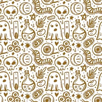 Halloween dzień martwych złotego atramentu wektor wzór oko duch czaszki owadów bakterii