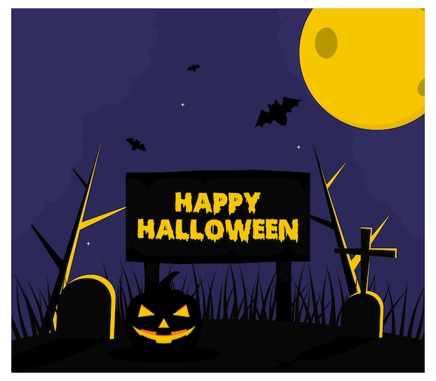 Halloween grave bat tło płaskie