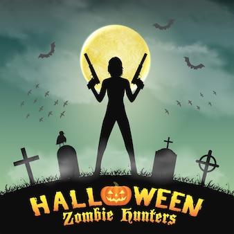 Halloween hunter zombie z pistoletem na cmentarzu