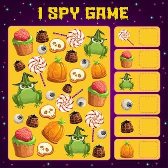 Halloween i szpiegowanie szablon gry edukacyjnej dla dzieci i projektowania aktywności liczenia
