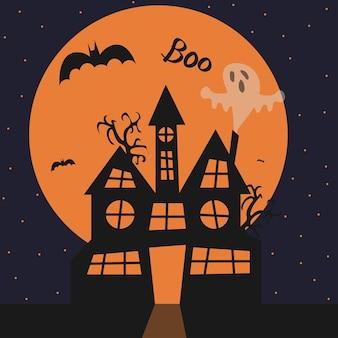 Halloween ilustracja dom nietoperze księżyc