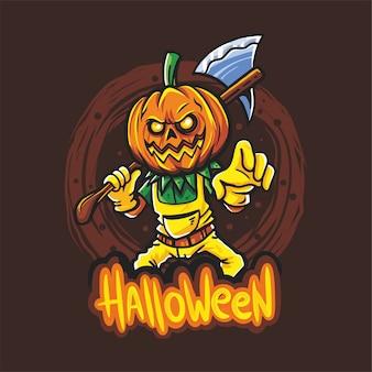 Halloween jack o pumpkin trzyma ax wektor rysunek