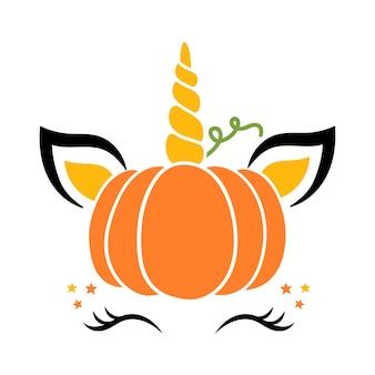 Halloween jednorożec dynia jesienny jednorożec wesołego halloween