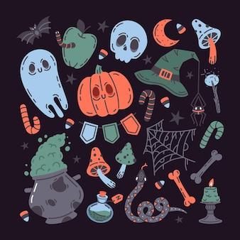 Halloween jesienne wakacje upiorny zestaw symboli czaszki dyni trucizna duch wektor