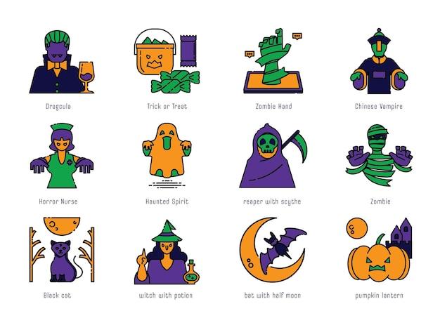 Halloween kolor linii ikona zestaw ilustracji wektorowych projektu