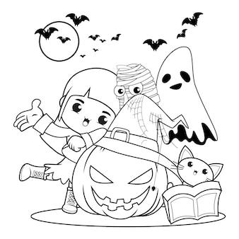 Halloween kolorowanka śliczna mała dziewczynka czarownica21