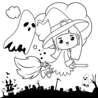 Halloween kolorowanka śliczna mała dziewczynka czarownica3