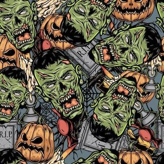 Halloween kolorowe elementy wzór z głowami zombie