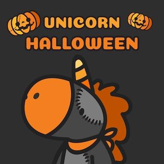 Halloween kostiumowy jednorożec i banie lata wokoło.