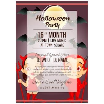 Halloween kostiumowy plakat szablon z trochę diabła