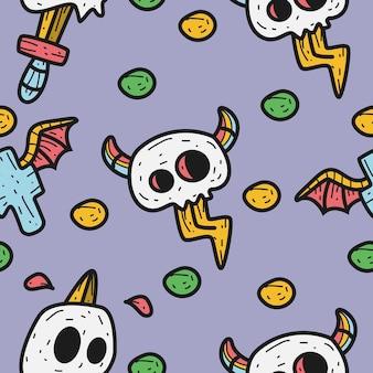 Halloween kreskówka doodle wzór projektowania ilustracji