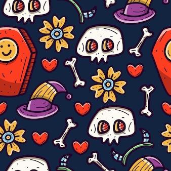 Halloween kreskówka doodle wzór