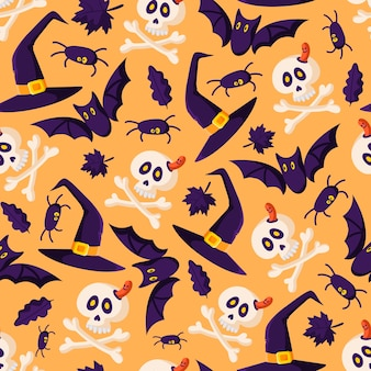 Halloween kreskówka wzór - czarny nietoperz, czaszka i kości, pająk, kapelusz wiedźmy i jesienne liście