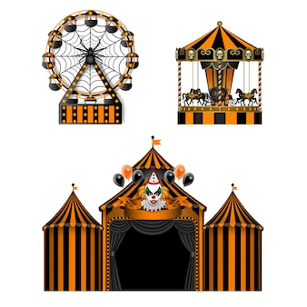 Halloween luna park elementy horror park rozrywki na białym tle karuzela cyrkowa i diabelski młyn