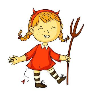 Halloween mała dziewczynka imp na białym tle