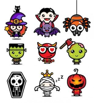 Halloween maskotka wektor wzór zestaw