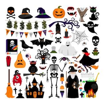 Halloween moda płaskie ikony na białym tle. halloweenowe postacie wektorowe. dynia i czarny kot, duch i wiedźma